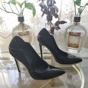 Black and White Lucine Heels Size 9
